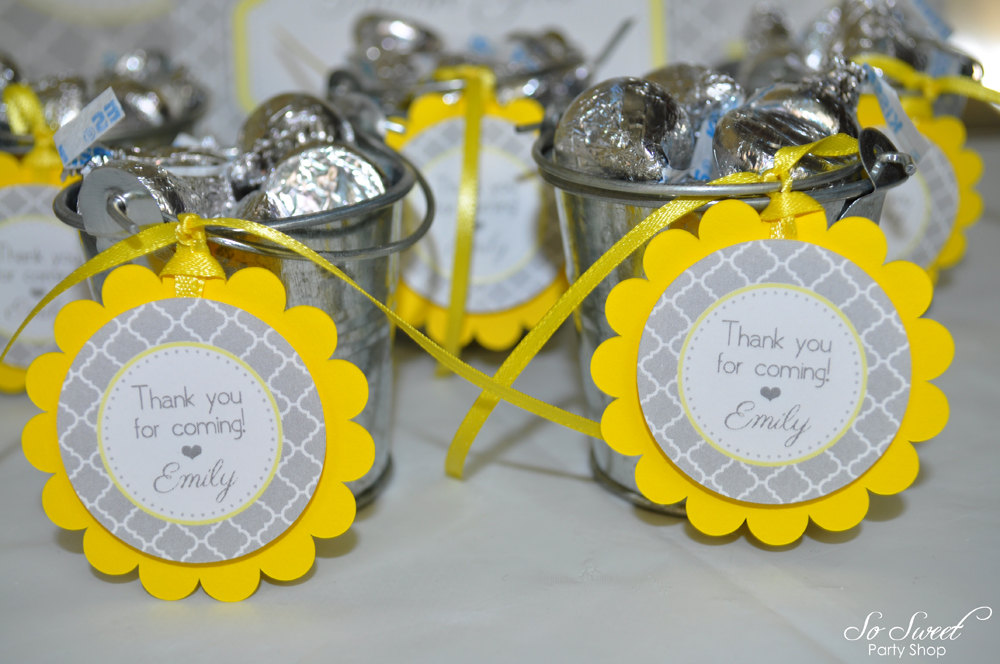 12 Baby Shower Favor Tags Gray And Yellow Boy Or Girl Baby