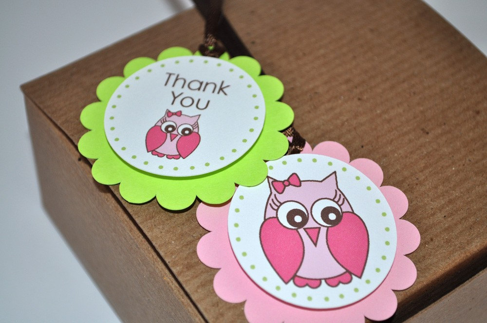 12 Birthday Favor Tags Owl Girls 1st Party Decorations