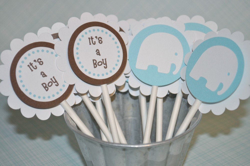12 Boys Baby Shower Cupcake Toppers It S A Boy Elephant Theme