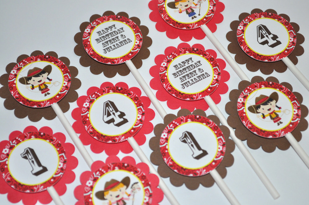12 Cowgirl Birthday Cupcake Toppers
