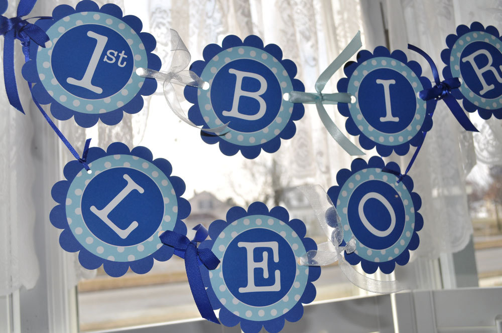 12 Cupcake Toppers Dark Blue And Light Polkadot Personalized Birthday Party Decorations