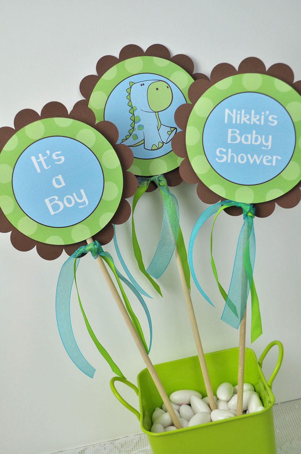 12 Cupcake Toppers Dinosaur Baby Shower Brown Green