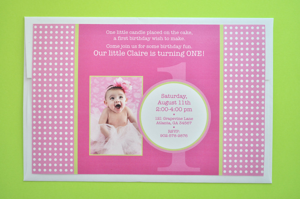 1st Birthday Banner Girls Party Decorations Personalized Polkadots Pink And Lime Green