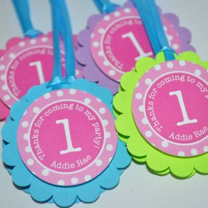 1st Birthday Favor Tags Thank You Tag Girls Party Decorations Favors Pink Teal Purple Lime Green Polkadot Set Of 12