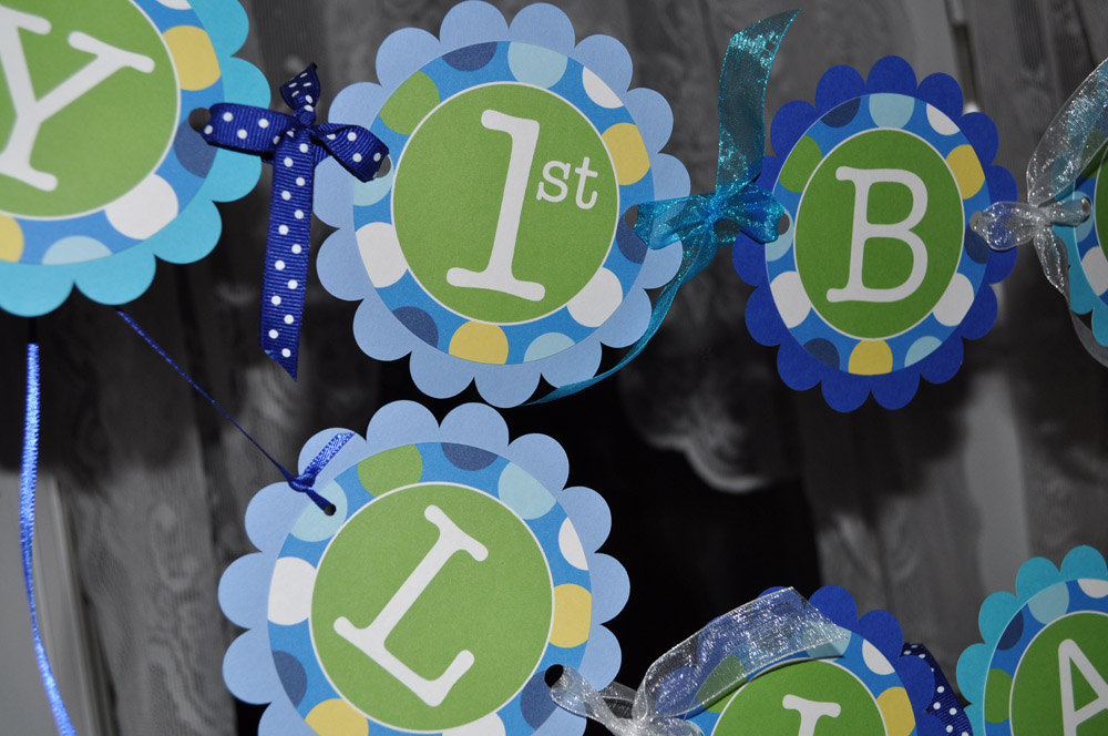 1st Birthday Highchair Banner I Am 1 Boys Party Decorations Supplies Blue And Green Polkadots