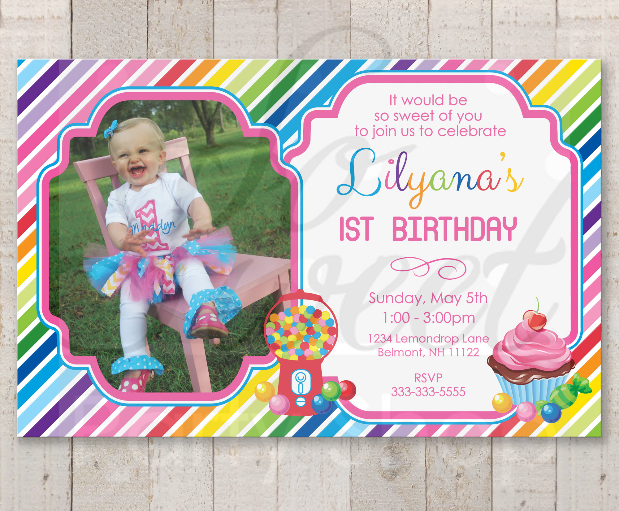 1st Birthday Invitations Candy Sweet Shoppe Rainbow