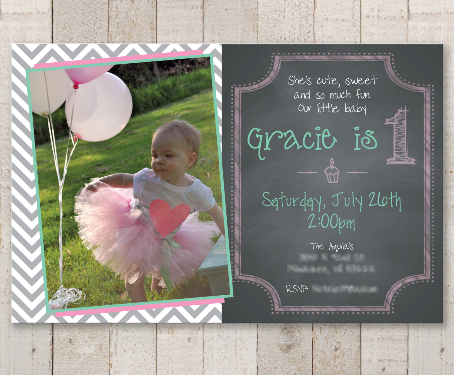 1st Birthday Invitations – Girls 1st Birthday Chalkboard Invitations ...