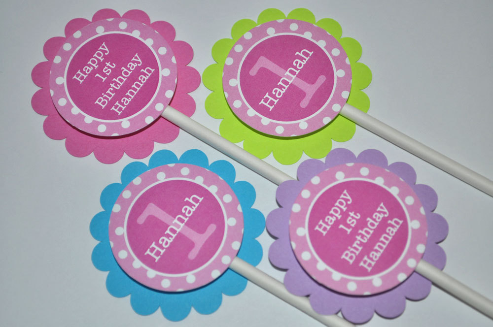 1st Birthday Party Door Sign Girls Decorations Welcome Polkadots Pink Lime Green Teal And Purple