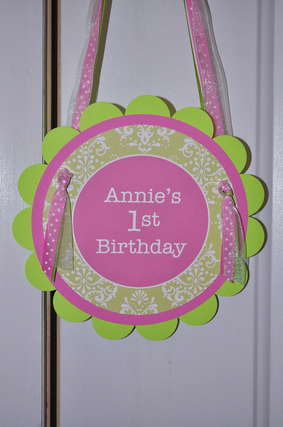 1st Birthday Party Door Sign Party Sign Welcome Sign Baby Shower Welcome Sign Party Decorations Pink And Green
