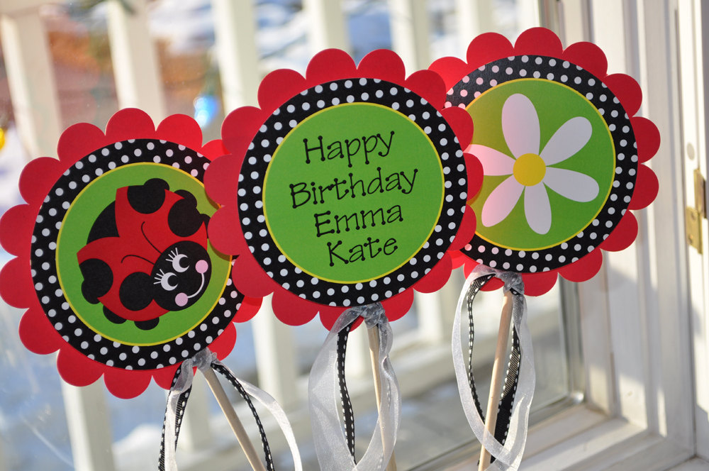 3 Ladybug Centerpiece Sticks S Birthday Party Personalized Decorations Red Green Black