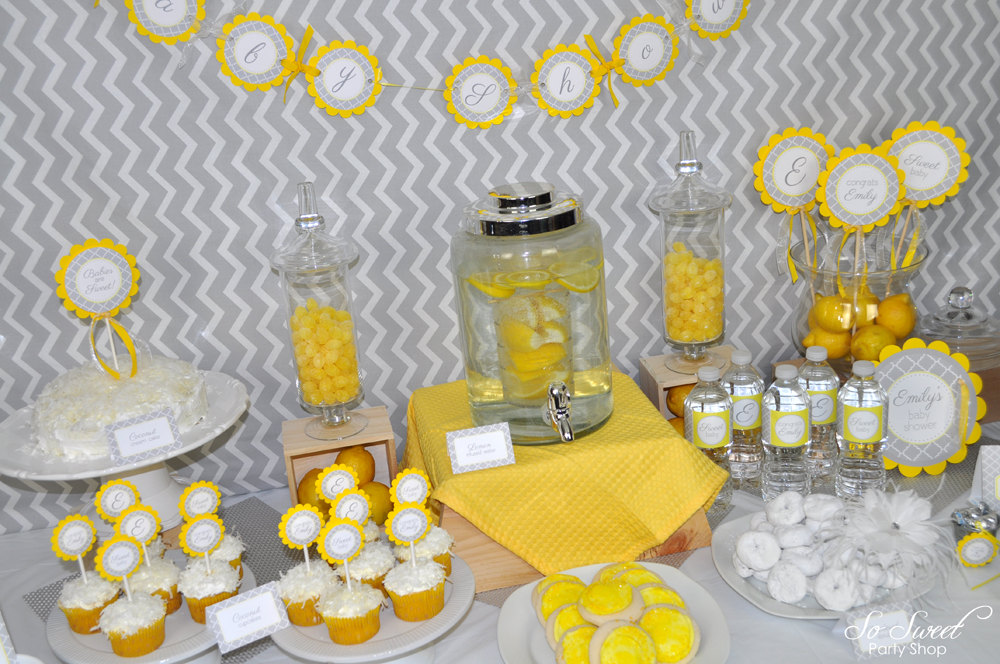 Baby Shower Banner Gray And Yellow Boy Or Girl Baby Shower