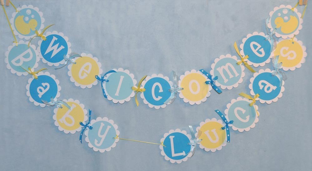 Baby Shower Banner Rubber Ducky Baby Shower Boys Baby Shower Welcome Baby Banner Personalized Banner Yellow And Blue Baby Shower So Sweet Party Shop