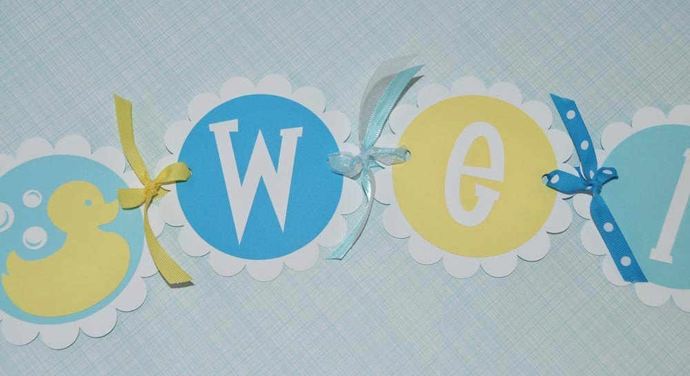 Baby Shower Banner Rubber Ducky Baby Shower Boys Baby Shower