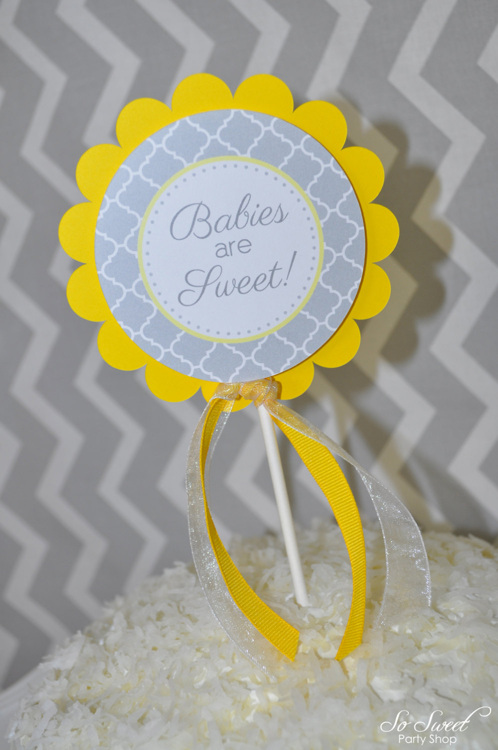 Baby Shower Cake Topper Gray And Yellow Boy Or Girl Baby Shower