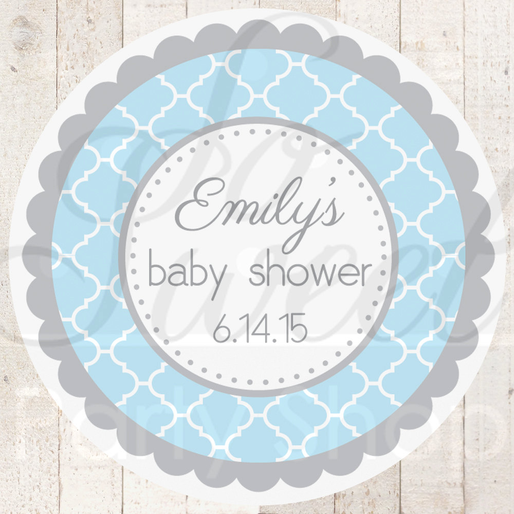Baby Shower Favor Sticker Labels Blue And Gray Baby Shower
