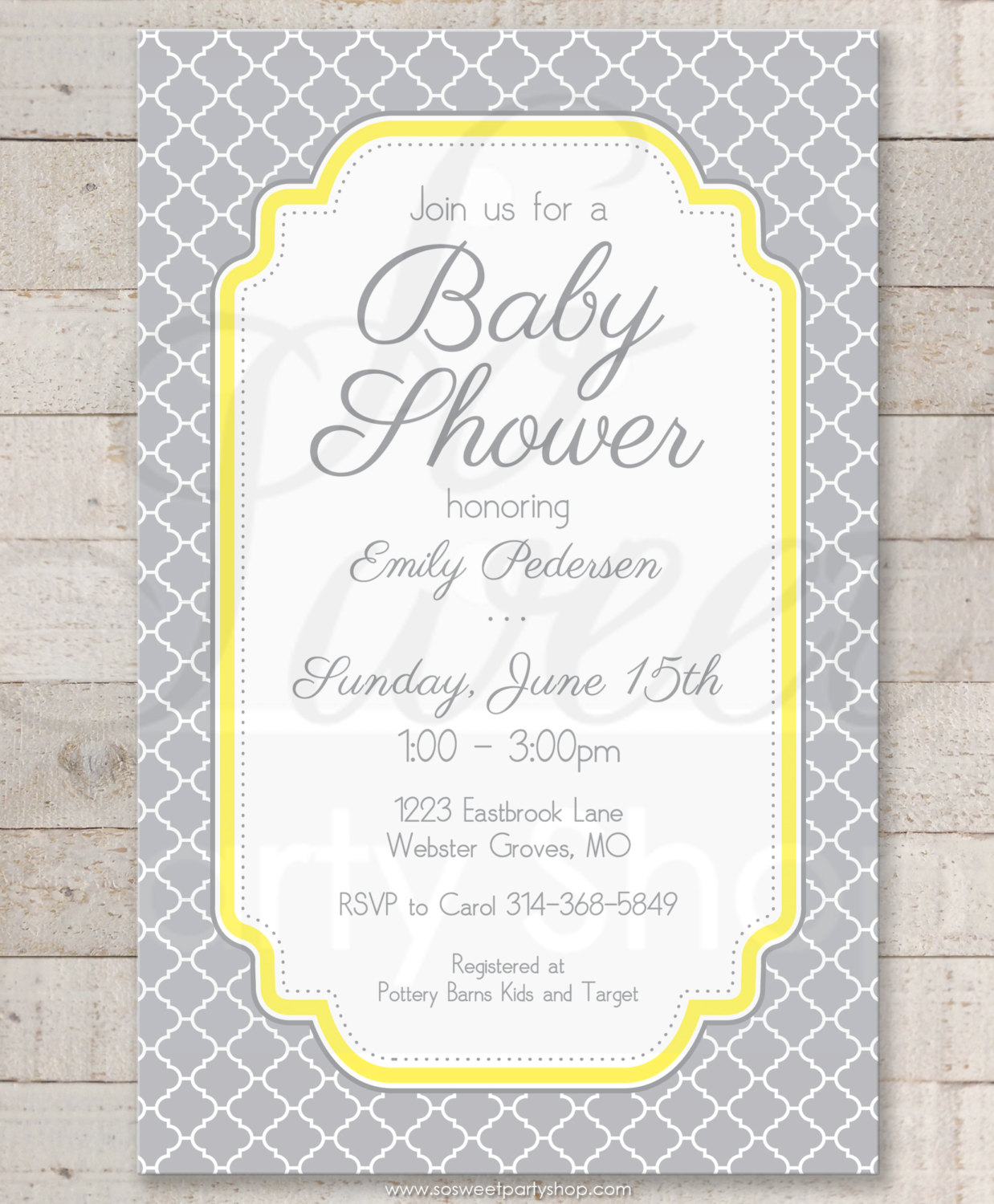 Baby shower invitations gray and yellow boy or girl baby shower baby shower invitations filmwisefo