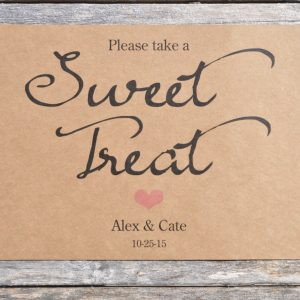 Baby Shower Sweet Treat Sign Rustic Wedding Table Candy Buffet 5 7 Kraft