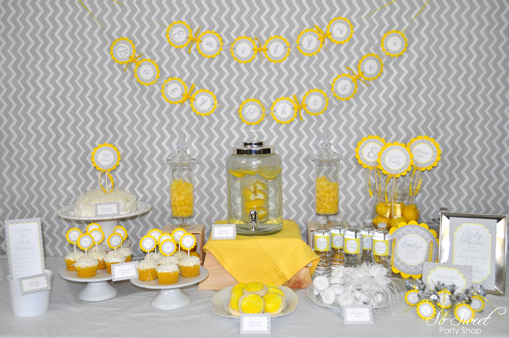 Baby Shower Water Bottle Labels Drink Labels Gray And Yellow Boy