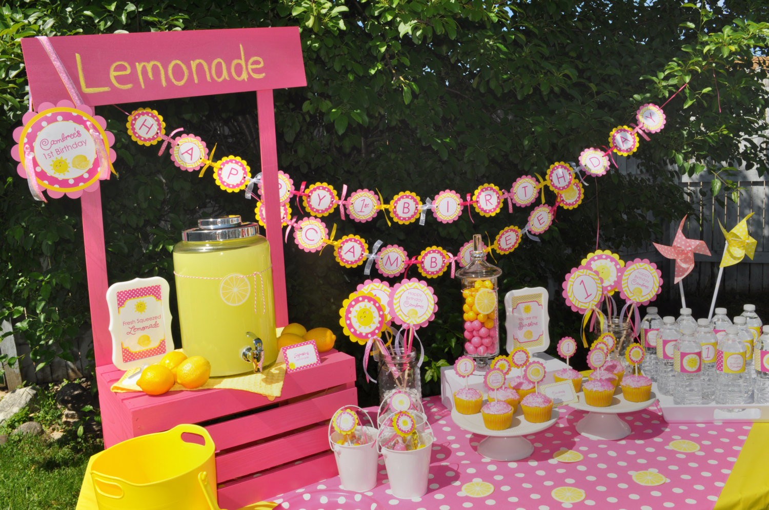 Birthday Banner Lemonade And Sunshine 1st Birthday Party Decorations You Are My Sunshine Pink Lemonade Party Birthday Banner