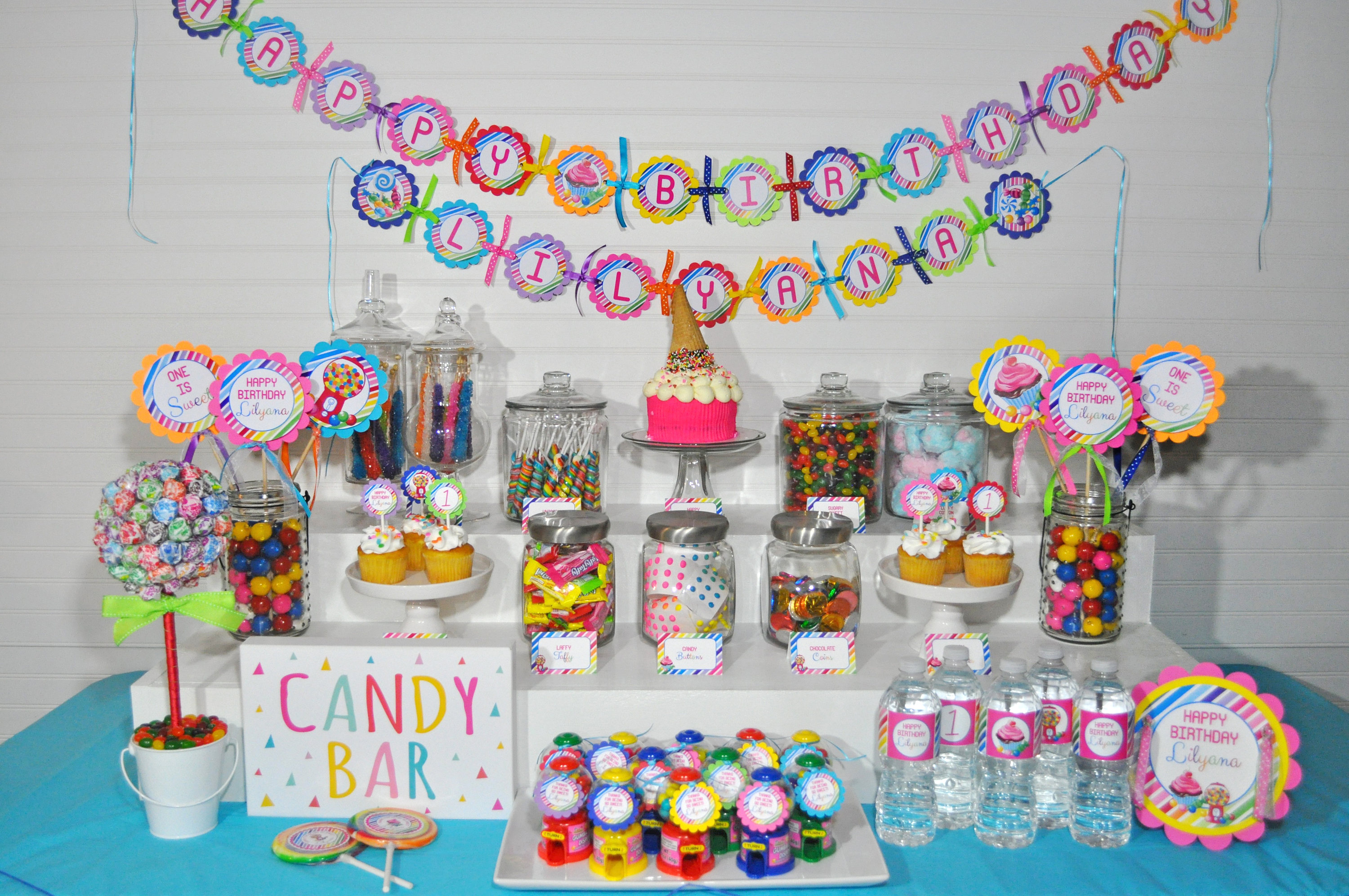 Birthday Banner Sweet Shoppe 1st Birthday Banner Rainbow Candy