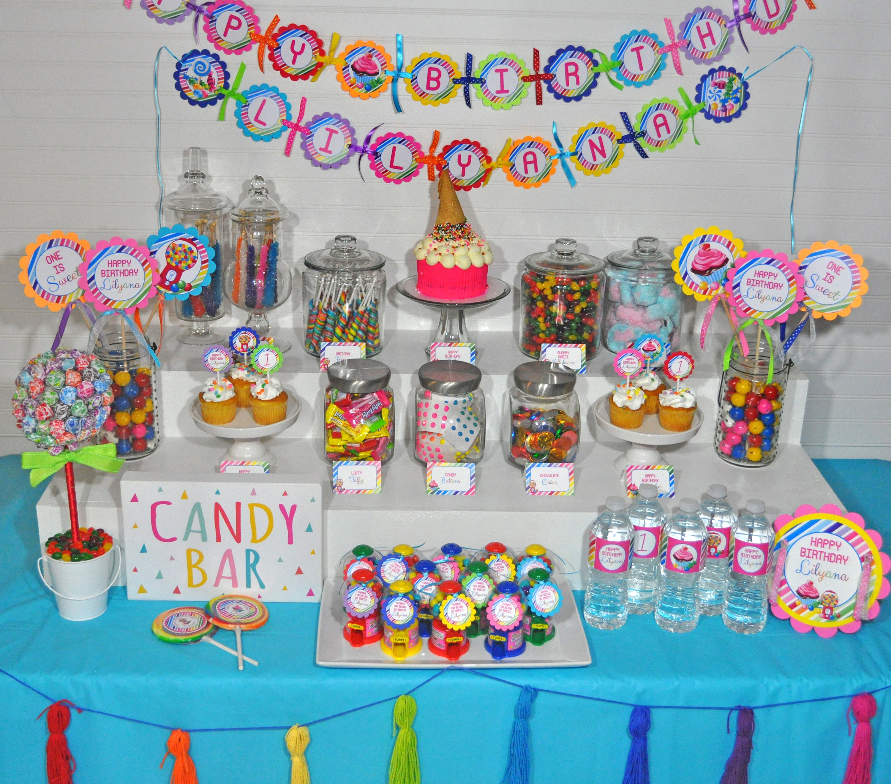 Birthday BANNER Sweet Shoppe 1st Banner Rainbow Candy Party Decorations Land Shop Sign