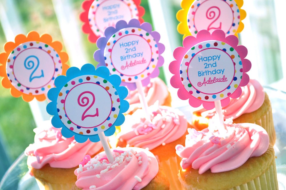 Birthday Cupcake Toppers Party Decorations 1st