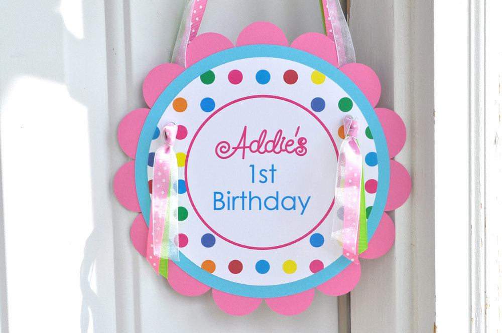 Birthday Party Door Sign 1st Happy Rainbow Colorful Polkadots Decorations