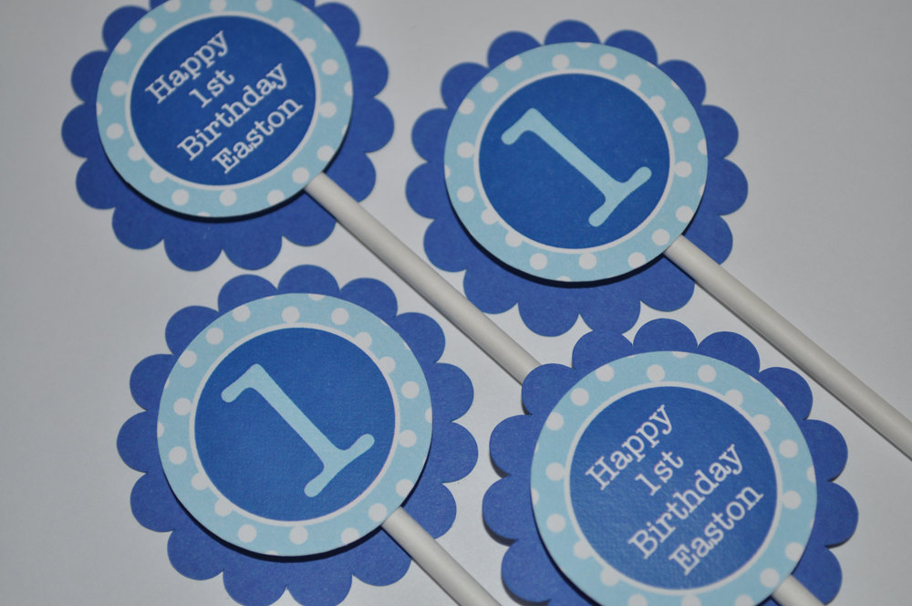 Birthday Party Favor Tags Boys 1st Favors Dark Blue And Light