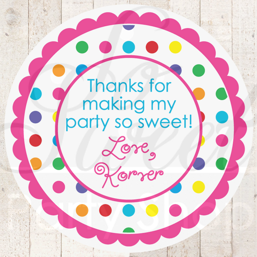 Birthday Stickers, Thank You Favors, 1st Birthday, Rainbow