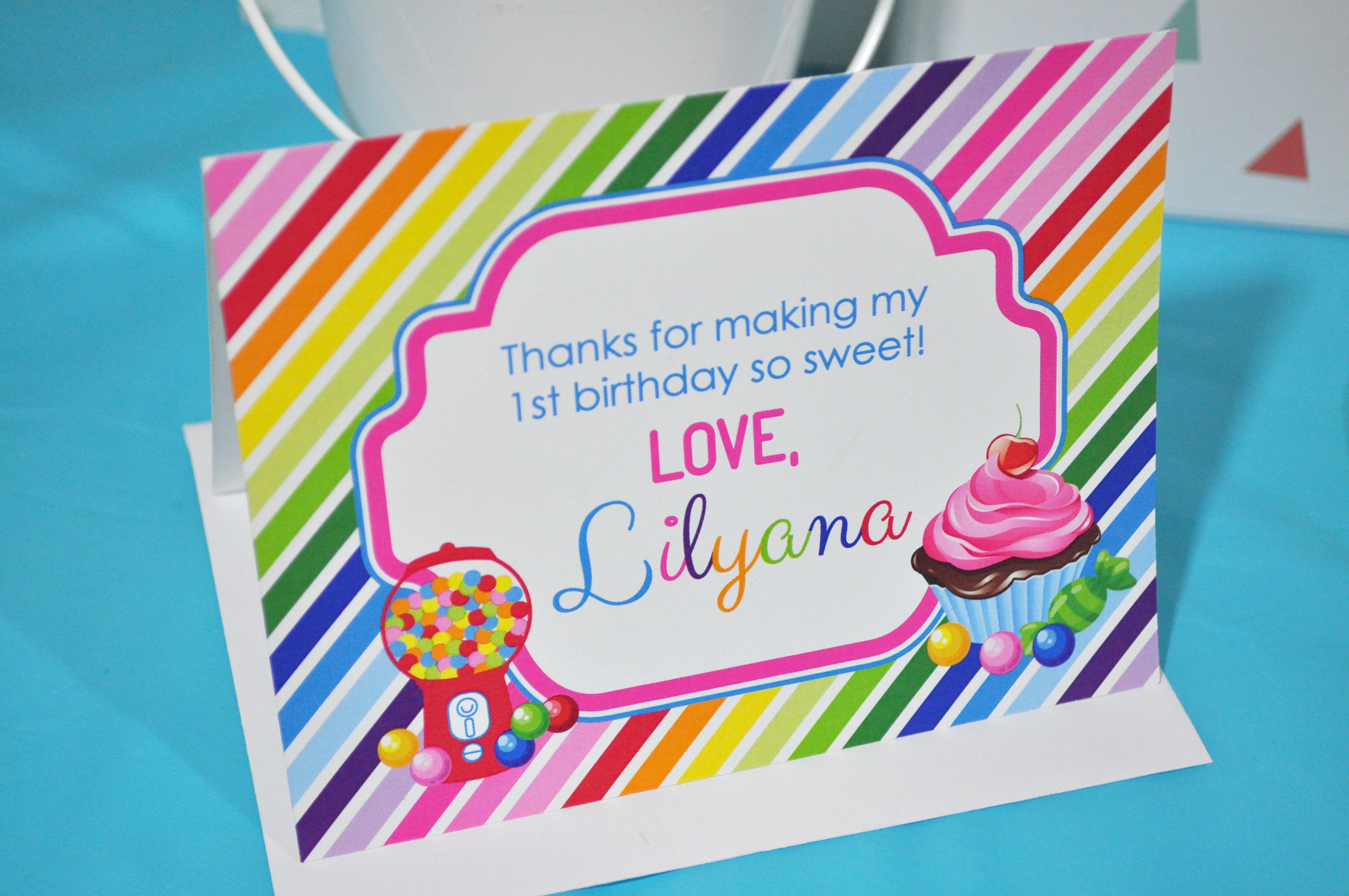Birthday Thank You Cards Candy Sweet Shoppe Thank You Notes