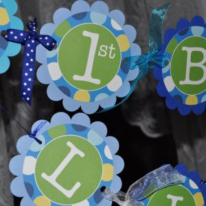 Boys 1st Birthday Banner Blue Polkadots Personalized Party Decorations