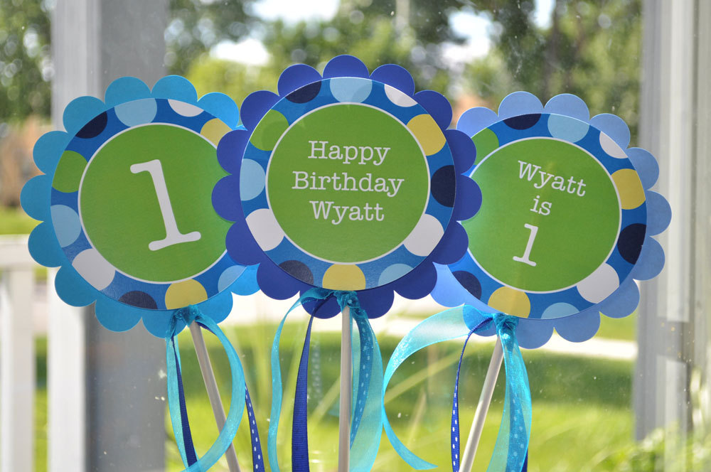 Boys 1st Birthday Centerpiece Sticks Party Decorations Table Centerpieces Birthday Party Personalized Birthday Decorations Set Of 3