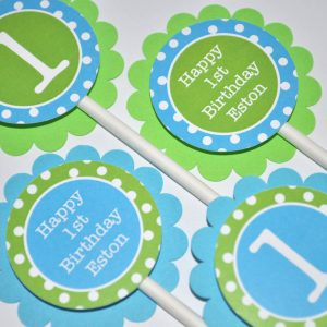 Boys 1st Birthday Cupcake Toppers Party