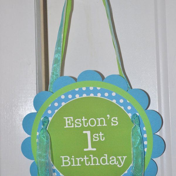 Bright Pool Blue Personalized Boys 1st Birthday Door Sign Bright Green and White Polkadots