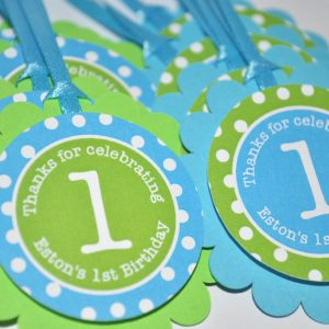 Boys 1st Birthday Favor Tags Party Decorations Bright Pool Blue Green And White Polkadots Set Of 12