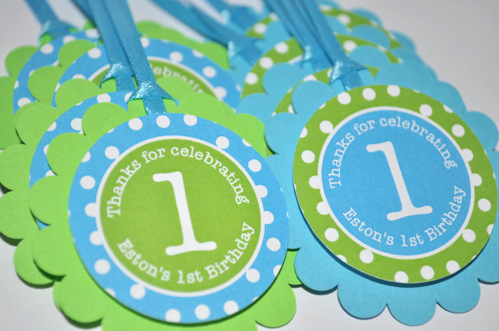 Boys 1st Birthday Favor Tags Party Decorations Bright Pool