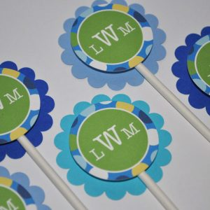 Boys 1st Birthday Party Cupcake Toppers Decorations Picks Personalized Blue Polkadots Set Of 12