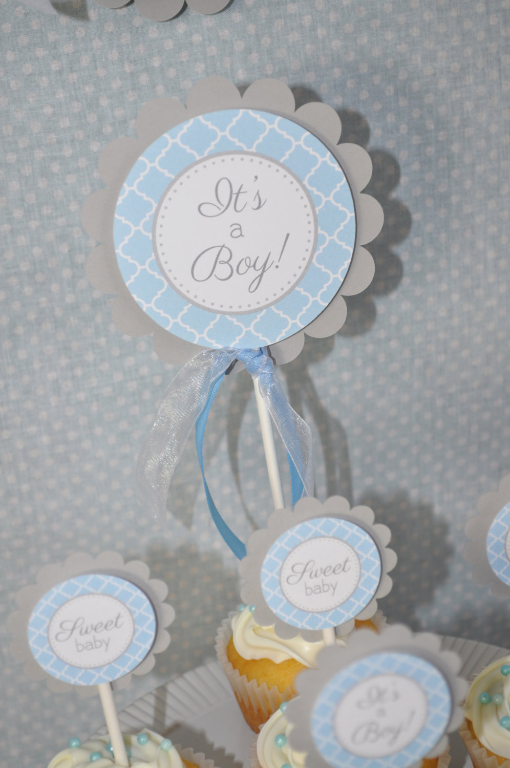 Boys Baby Shower Cake Topper Blue And Gray