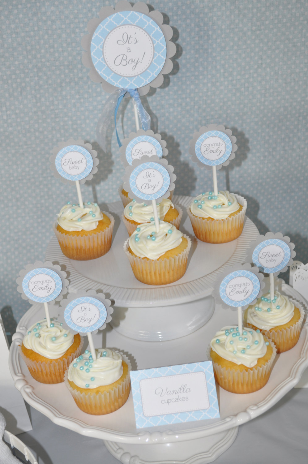 Boys Baby Shower Cake Topper Blue And Gray Boy Baby Shower