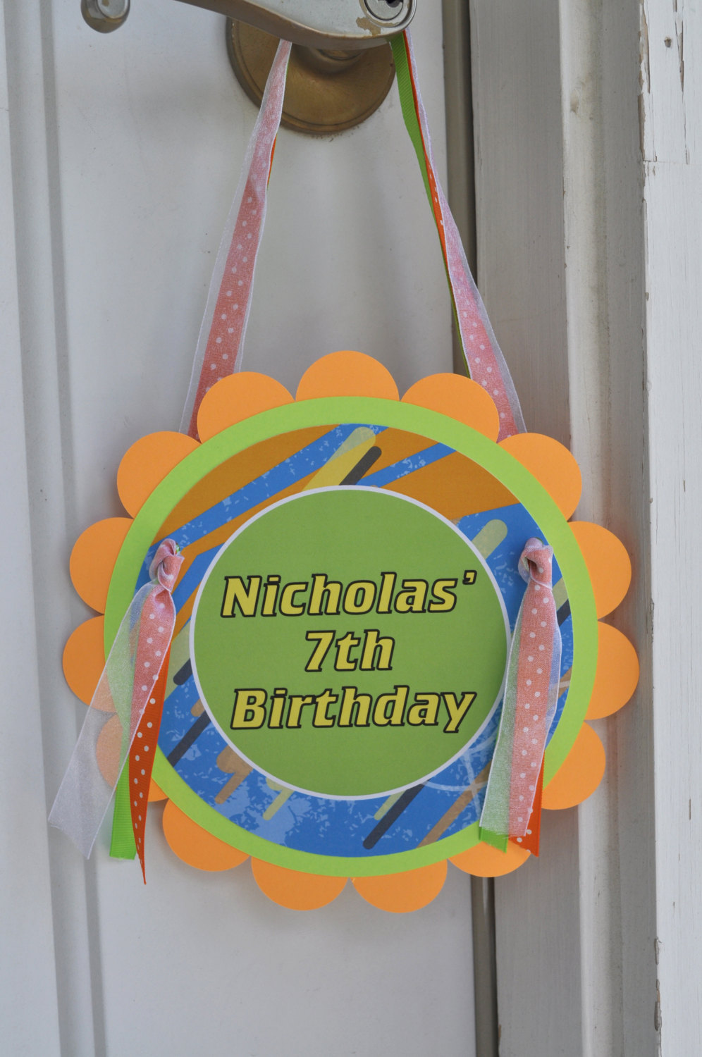 Boys Birthday Door Sign Laser Tag Party Dart Gun Blaster Happy Decorations Personalized