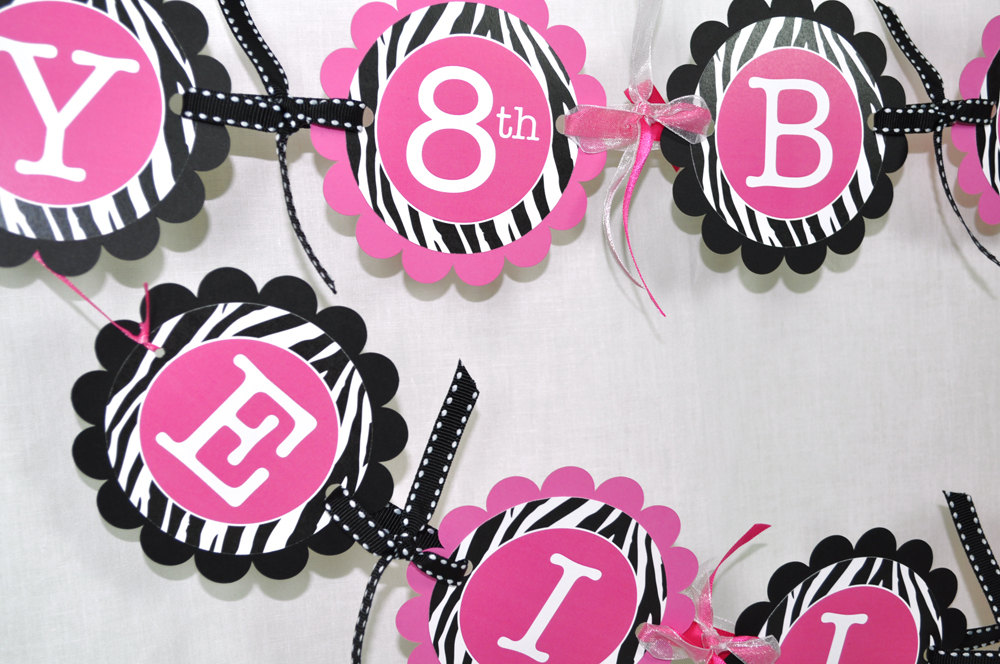 Cake Topper Girls 1st Birthday Party Zebra Stripe Pink Black And White Decorations