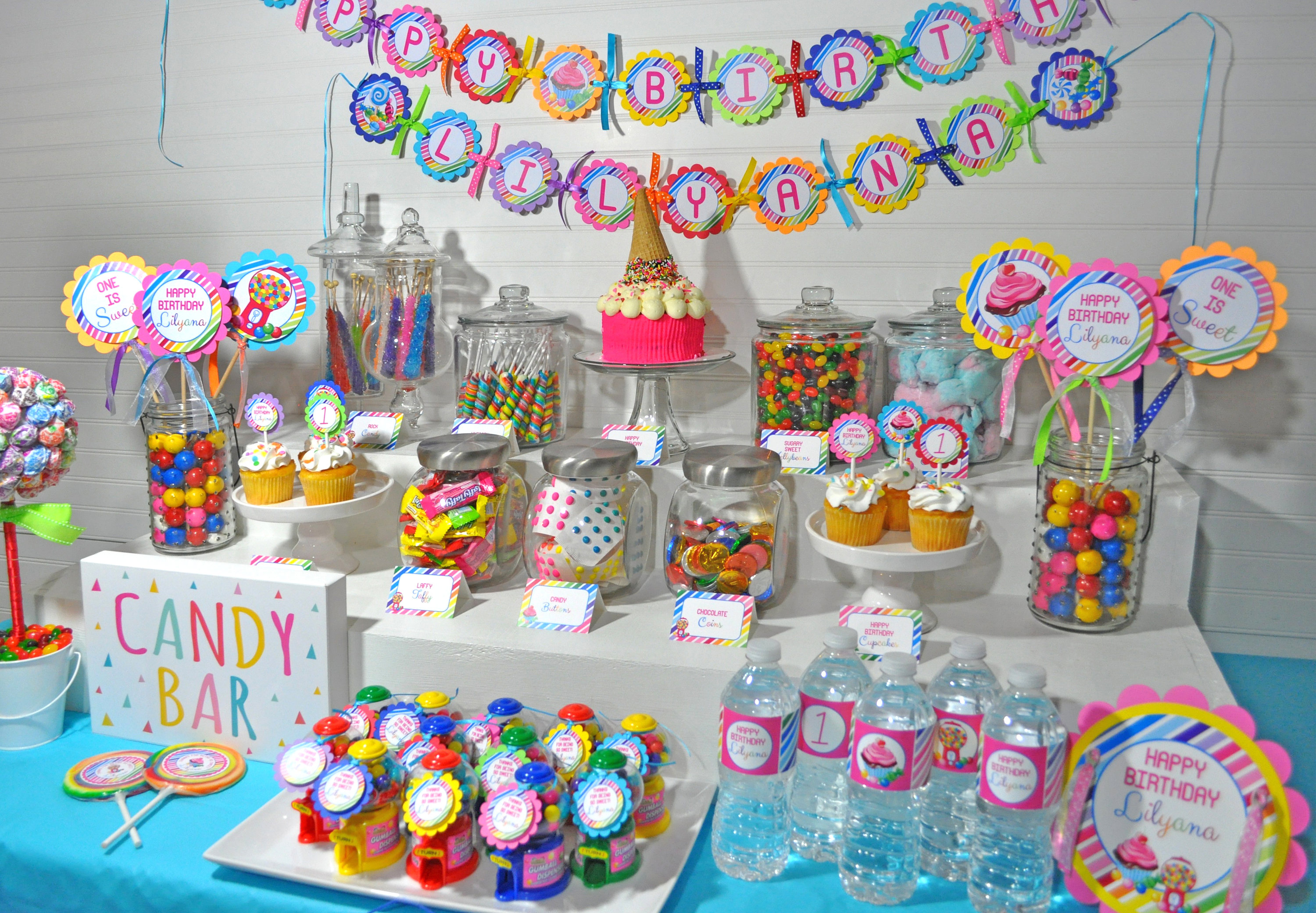 candy sweet shoppe centerpiece sticks 1st birthday rainbow party rh sosweetpartyshop com candy decoration for birthday party