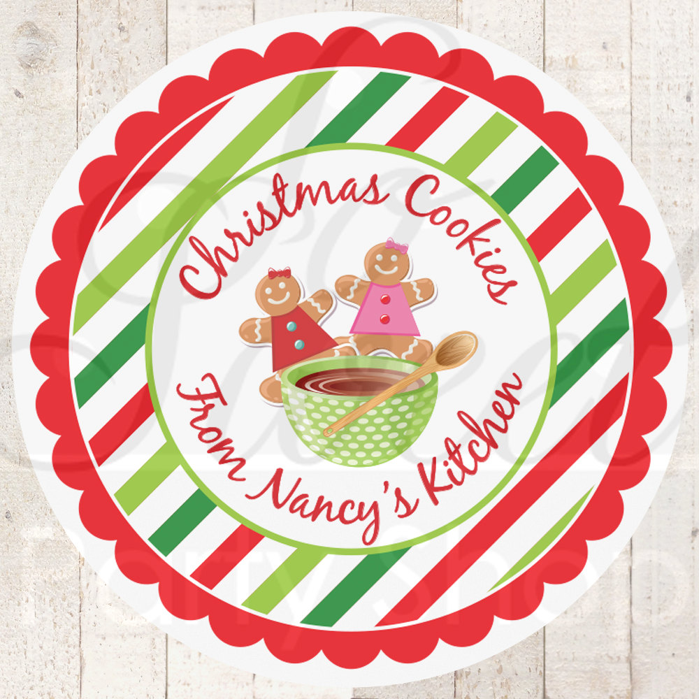 Christmas stickers christmas cookie labels from the kitchen of labels cookie exchange baking labels personalized stickers set of 24