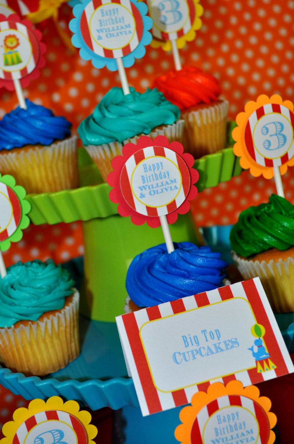 Circus Party Cupcake Toppers Carnival Birthday