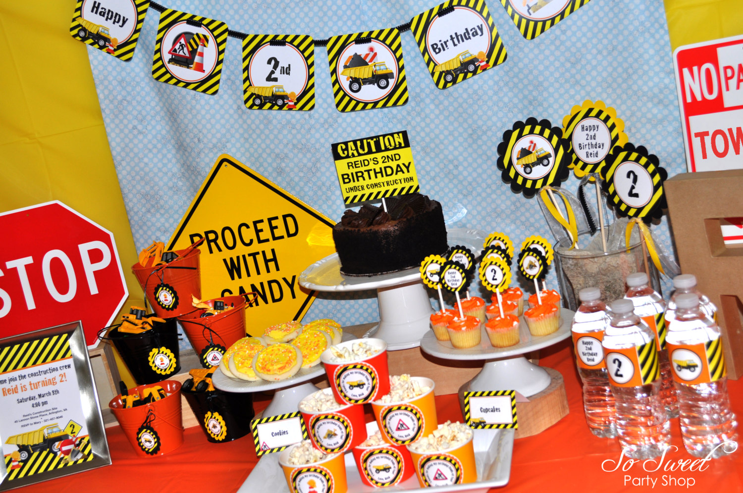 Construction Food Labels Boys Birthday Party Decorations