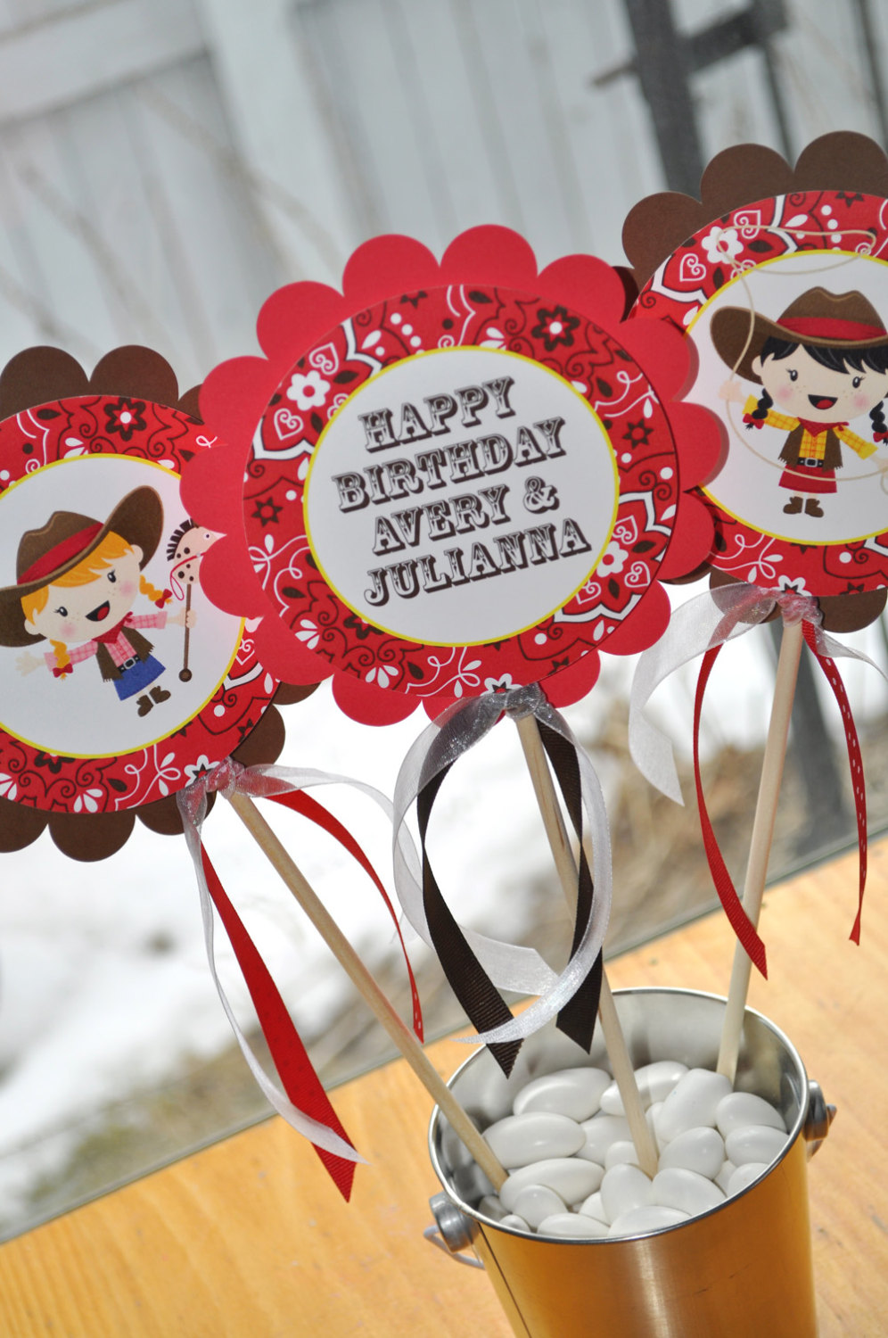 Cowgirl Birthday Centerpiece Sticks Decorations