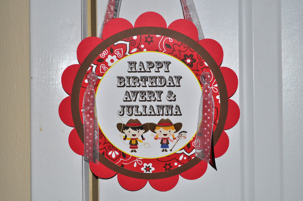 Cowgirl Birthday Party Door Sign Cowgirl Birthday Decorations Western Birthday Party