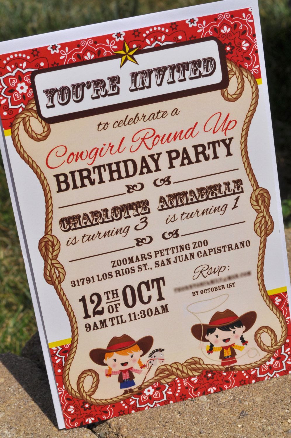 Cowgirl Birthday Party Invitations Decorations