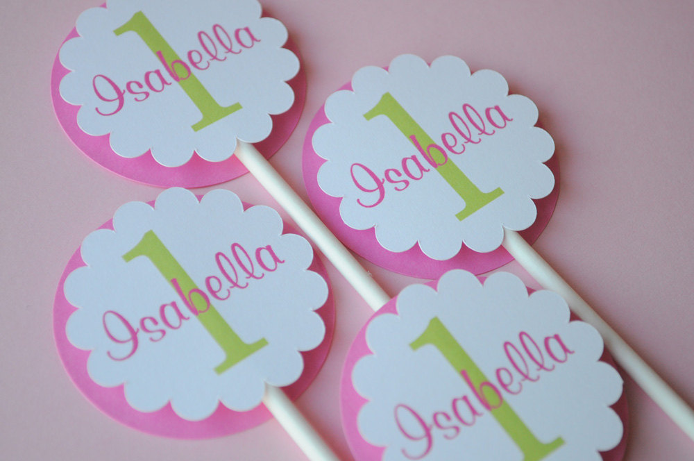Cupcake Toppers – Girls 1st Birthday Party – Birthday ...