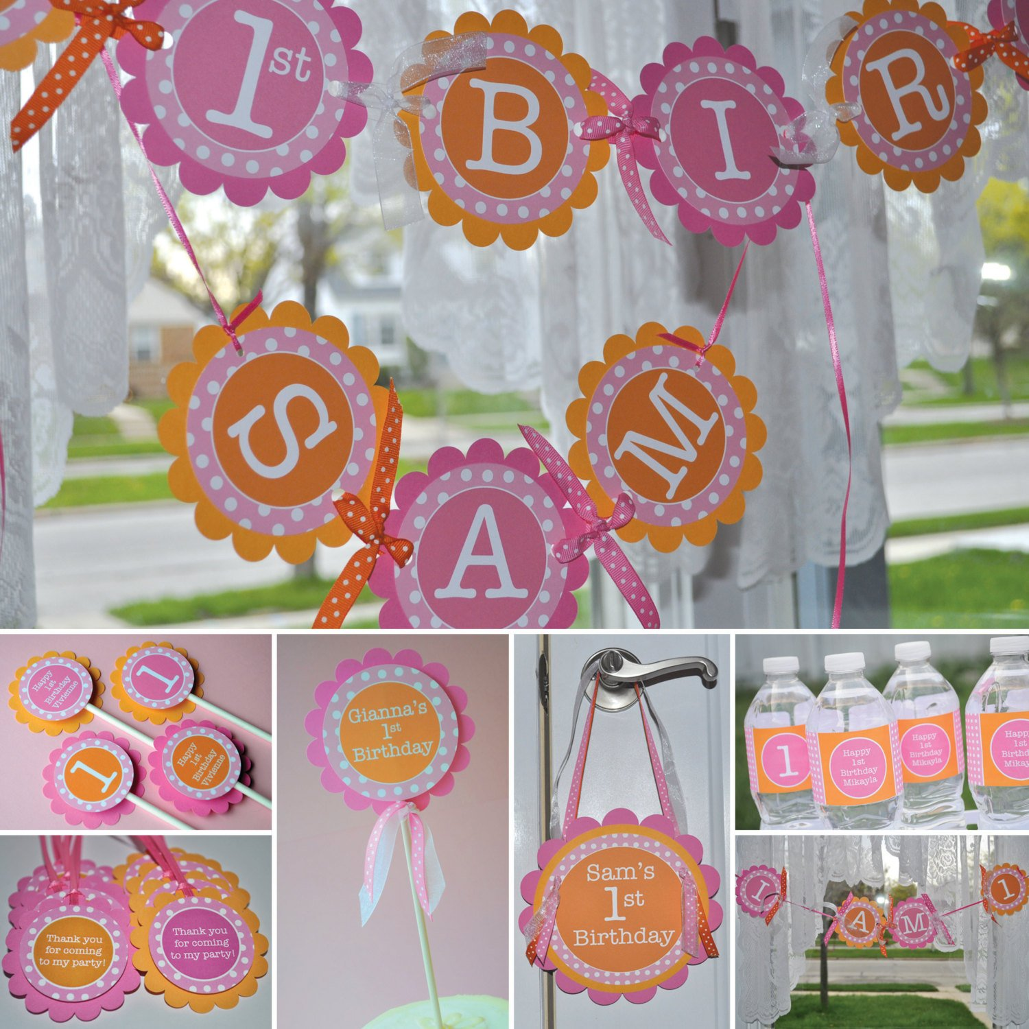 Cupcake Toppers Girls 1st Birthday Personalized Party Decorations